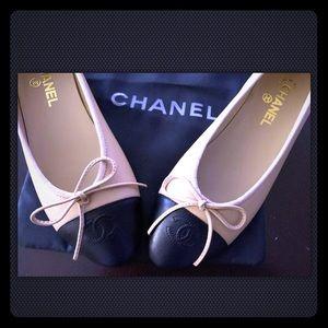 Chanel Ballerina Ballet Flats 38, Beige Black New!